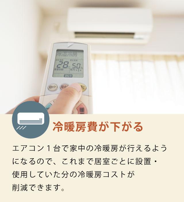 冷暖房費が下がる